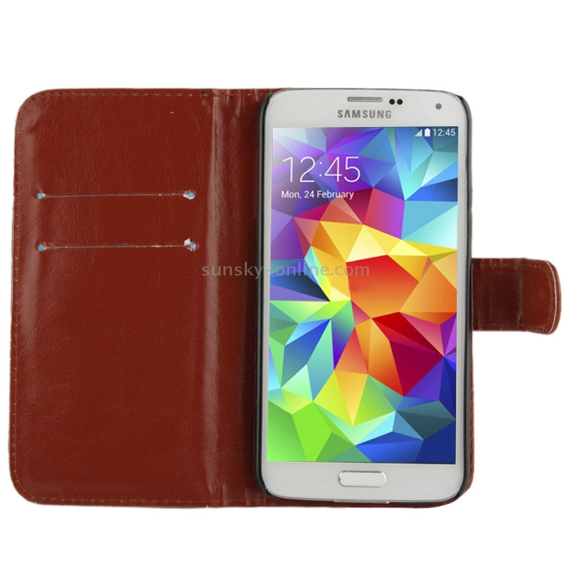 Leather Case with Card Slot & Holder for Samsung Galaxy S5 mini / G800
