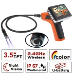 Wireless Borescope Inspection 2 LED Camera with 3.5 inch Color LCD Recordable Monitor, Lens Diameter: 17mm
