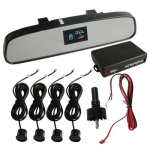 Car Reverse/Parking 4 Sensors Rear View Mirror (Black Reversing radar probe)