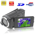5.0 Mega Pixels Digital Video Camera with 2.4 inch TFT LCD Screen, 270 degree rotation, Support TV Out, Max pixels: 12 Mega pixels (Interpolation), Black