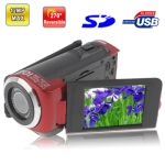5.0 Mega Pixels Digital Video Camera with 2.4 inch TFT LCD Screen, 270 degree rotation, Support TV Out, Max pixels: 12 Mega pixels (Interpolation), Red