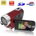 DV009, 5.0 Mega Pixels 4X Zoom Digital Video Camera with 2.4 inch TFT LCD Screen, 270 degree rotation, Support TV Out, Max pixels: 12 Mega pixels (Interpolation)