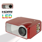 Personal Micro LED Projector with Remote Control, Built in Speaker, Support HDMI / VGA / S-Video Input (Red)