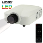 Personal Micro LED Projector with Remote Control, Built in Speaker, Support HDMI / VGA / TV / S-Video Input (White)