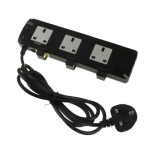 3 Way UK Power Extension Socket with RJ11 Interface, Cable Length: 2m