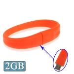 USB флеш-накопитель с интерфейсом USB 2.0 в виде силиконового браслета, 2Гб (Красный)