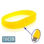 SB флеш-накопитель с интерфейсом USB 2.0 в виде силиконового браслета, 16Гб (Желтый)