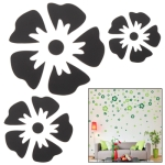 Large + Middle + Small Size Flower Shaped DIY Adhesive Wall Sticker Decal Wallpaper House Interior Decor (Black)