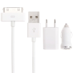 3 in 1 (EU Plug Home Charger, Car Charger, USB Cable) Travel Kit for iPhone 4 & 4S, iPhone 3GS/3G,  iPod Touch