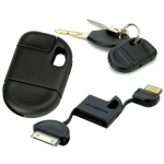 Keychain USB Charger/ Cable for iPhone 4 & 4S, iPhone 3GS/3G, New iPad (iPad 3) / iPad 2/iPad, iPod Touch (Black)