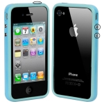 Bumper Frame TPU + PC Case with Keys for iPhone 4 & 4S (Baby Blue)