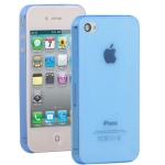 0.3mm Ultra-thin TPU Case for iPhone 4/4S (Blue), Transparent version / Matte Edition