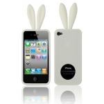 2 in 1 (Rabbit Ears TPU Case + Holder) for iPhone 4 & 4S, White