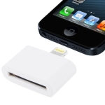 30 Pin Female to Lightning 8 Pin Male Adapter for iPhone 5, iPad mini, iPod touch 5 (White)