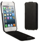 Litchi Texture Vertical Flip Genuine Split Leather Case for iPhone 5 (Black)