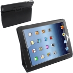Leather Case with Holder for New iPad (iPad 3) / iPad 4, Black