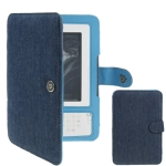 Jeans Leather Folder Case with Magnetic Snap for Amazon Kindle 3