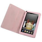 7 inch Book Style Leather Case with Holder for Amazon Kindle Fire (Pink)