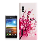 Cherry Blossom Pattern Diamond Encrusted Plastic Case for LG Optimus L5 / E612
