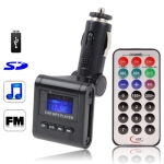 Car MP3 FM Transmitter, Supports USB Flash Disk & SD Card (Black)