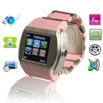 MQ008, GSM Watch Mobile Phone, Bluetooth & FM Touch Screen Watch Mobile phone, Single SIM Card, Quad band, Network: GSM850/ 900 / 1800/ 1900MHZ (Pink)