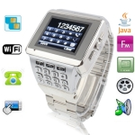 X8 Silver, Stainless Steel Watch Mobile phone, JAVA WIFI Bluetooth FM Bluetooth Touch Screen Unlocked Watch Phone with 1.3 Mega pixel camera, Dual sim card Dual standby, Quad band, Network: GSM850/ 900 / 1800/ 1900MHZ