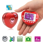 F520 Red, Heart-shaped, FM function Touch Screen Mobile Phone, Dual sim card Dual standby Dual cameras, Dual band, Network: GSM 900 / 1800MHZ, Valentines Gift