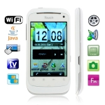 HI7 White, Analog TV(PAL/NTSC/SECAM), Wifi JAVA Bluetooth FM function Touch Screen Mobile Phone, Dual Sim cards Dual standby, Quad band, Network: GSM850/ 900 / 1800/ 1900MHZ