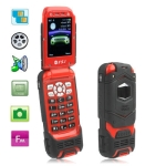 LV599 Red, Waterproof IPX1 + Dustproof + Shockproof Flip Mobile Phone, Bluetooth FM function, Dual Sim cards Dual standby, Dual band, Network: GSM900 / 1800MHZ