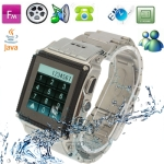 W818, Fashion Stainless Steel Waterproof Watch Mobile Phone, Bluetooth / FM / Java / MSN Touch Screen Watch Mobile phone, Single SIM Card, Dual band, Network: GSM 900 / 1800MHZ