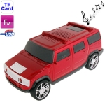 Music Car Style Card Reader Speaker with FM Radio and LED Light, Size: 210 x 92 x 90mm (Scarlet Red)