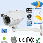 2.0 Megapixel Waterproof IP Camera , IR Nightvision ,Vandalproof, Motion Detection, Privacy Mask Function , Support (1600x1200) & HD 720P(1280x720), IR Distance: 30m