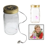 Sound / Touch Activated Firefly Toy with 1-LED Pink Light &amp; Glass Storage Jar Bottle