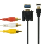 HDMI to VGA HD15 and Video/Audio Cable, Length: 1.8m (Gold Plated)