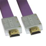 1.4 Version, HDMI to HDMI 19Pin Flat Cable, Support Ethernet, 3D, 1080P, HD TV / Xbox 360 / PS3 etc, Length: 1.8m (Gold Plated)