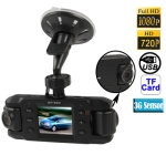 1080P Full HD / HD 720P 2.0 inch Screen Dual Lenses Vehicle DVR, Support TF Card / 3G-Sensor / 180-degree Rotary / 140-degree Wide View Angle / AV Out / GPS External Active Module / Anti Shake