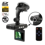 HD 720P 2.5 inch Screen Vehicle DVR with 8 Infrared Lights / Remote Control, Support SD Card / 120-degree Wide View Angle / 270-degree Rotating Display / Anti-Shake / TV Out / AVI Video Format / Night Vision / Motion Detection Video Recording Function
