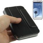 Flip Leather Case Cover Pouch with Holder for Samsung Galaxy SIII / i9300 (Black)