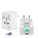 Universal US / EU / AU / UK Travel AC Power Adaptor Plug with USB Charger Socket