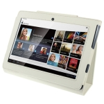 Leather Case with Holder for Sony Tablet S / S1 (White)
