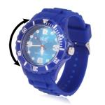 Кварцевые часы с силиконовым ремешком (Синие)