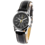 Black Dial Women Quartz Watch with Black Leather Watchband