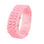 Пластиковые LED часы (Розовые)