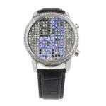 LED часы с кожаным ремешком Diamond Jewelry