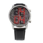 LED часы с кожаным ремешком