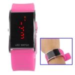 LED металлические часы с силиконовым ремешком (Розовые)