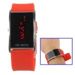Металлические LED часы с силиконовым ремешком (Красные)