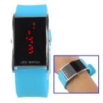 LED металлические часы с силиконовым ремешком (Голубые)