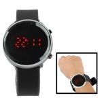 Металлический LED часы с силиконовым ремешком (Черные)