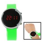 Металлические LED часы с силиконовым ремешком (Зеленые)